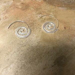 Twirly Statement Earrings Silvertone